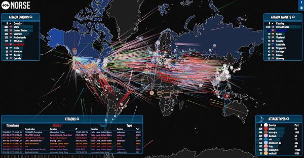 [網站] Norse – IPViking Live 全球網路攻擊活動即時視覺化平台