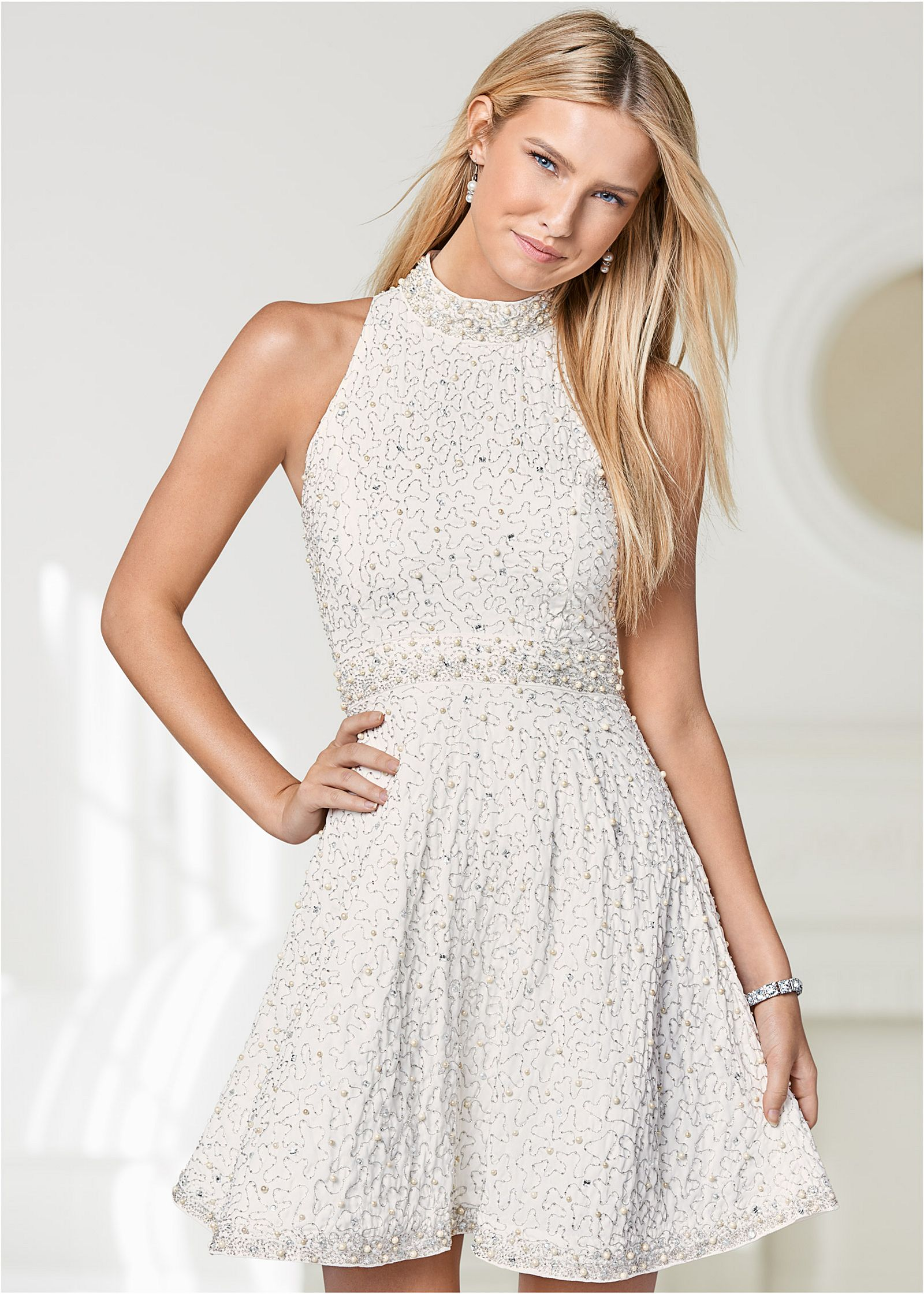 All Over Beaded Dress In Champagne VENUS