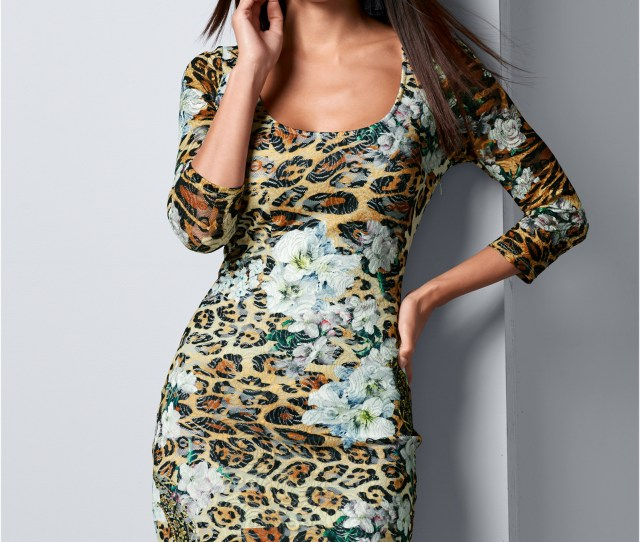 Print Lace Bodycon Dress