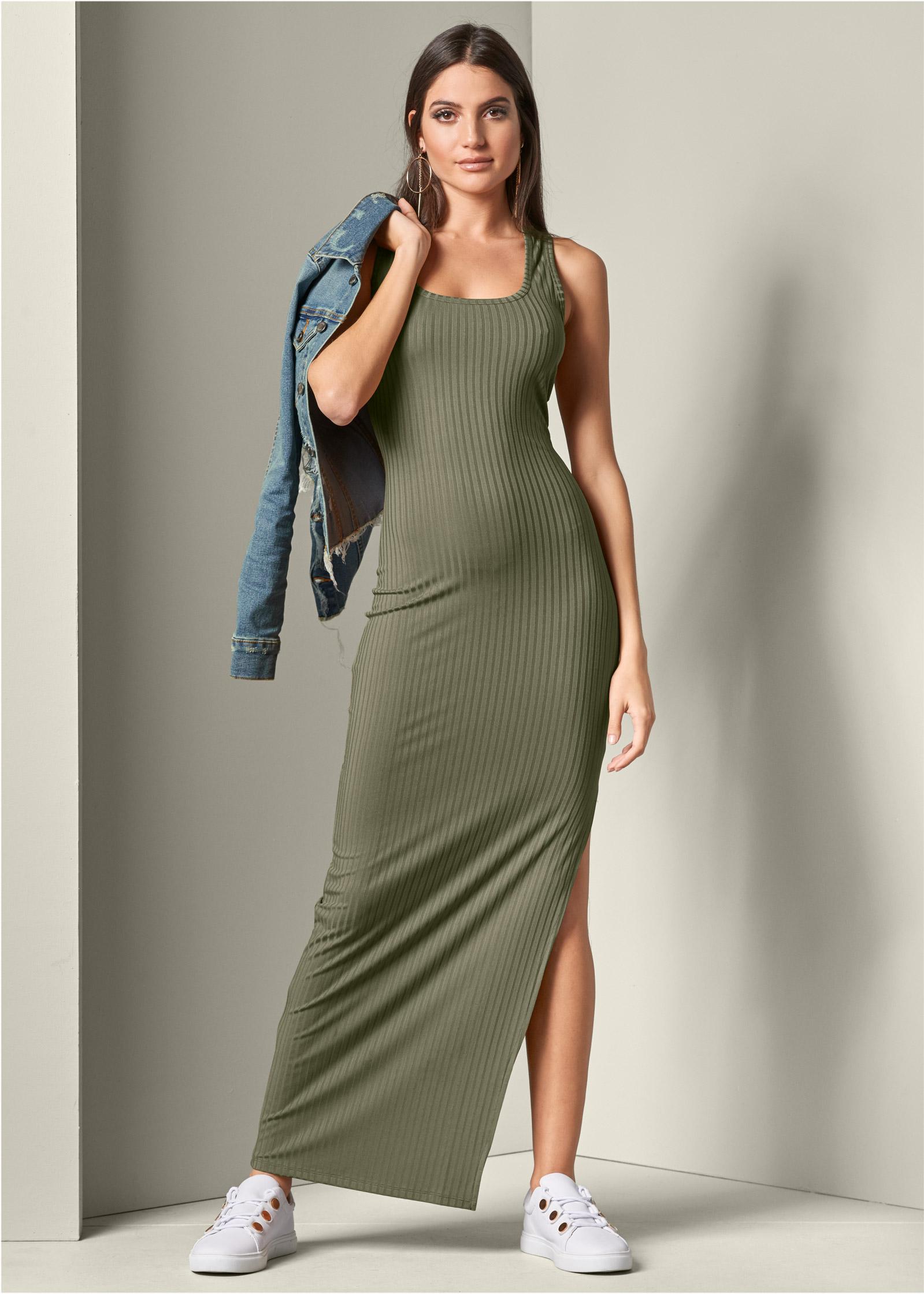 Ribbed Tank Maxi Dress In Olive VENUS