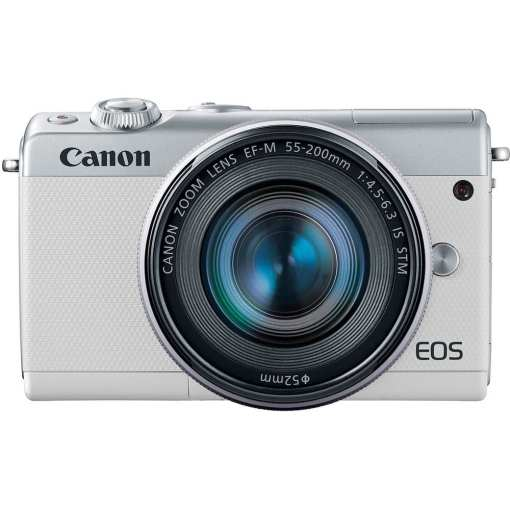 Canon EOS M100 Mirrorless Digital Camera with 15 45mm and 55 200mm Lenses White 011 - Canon EOS M100 Mirrorless Digital Camera with 15-45mm and 55-200mm Lenses (White)