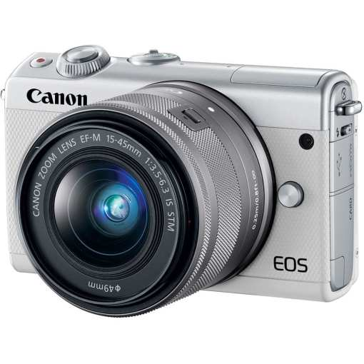 Canon EOS M100 Mirrorless Digital Camera with 15 45mm and 55 200mm Lenses White 02 - Canon EOS M100 Mirrorless Digital Camera with 15-45mm and 55-200mm Lenses (White)