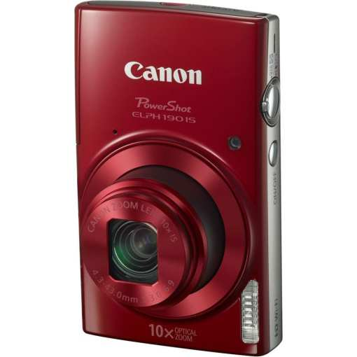 Canon PowerShot ELPH 190 IS Digital Camera Red 03 - Canon PowerShot ELPH 190 IS with 10x Optical Zoom and Built-In Wi-Fi (Red)