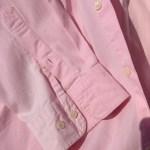 ラコステボタンダウンシャツピンク袖口