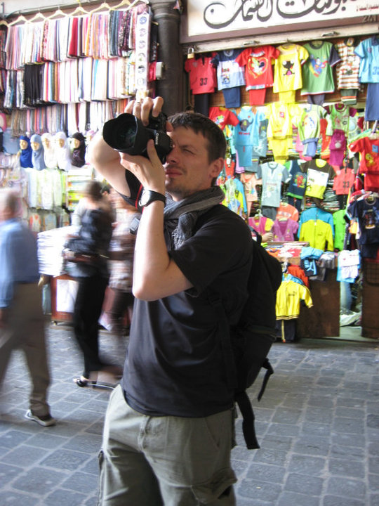 Photographing at the old market in Damascus, Syria