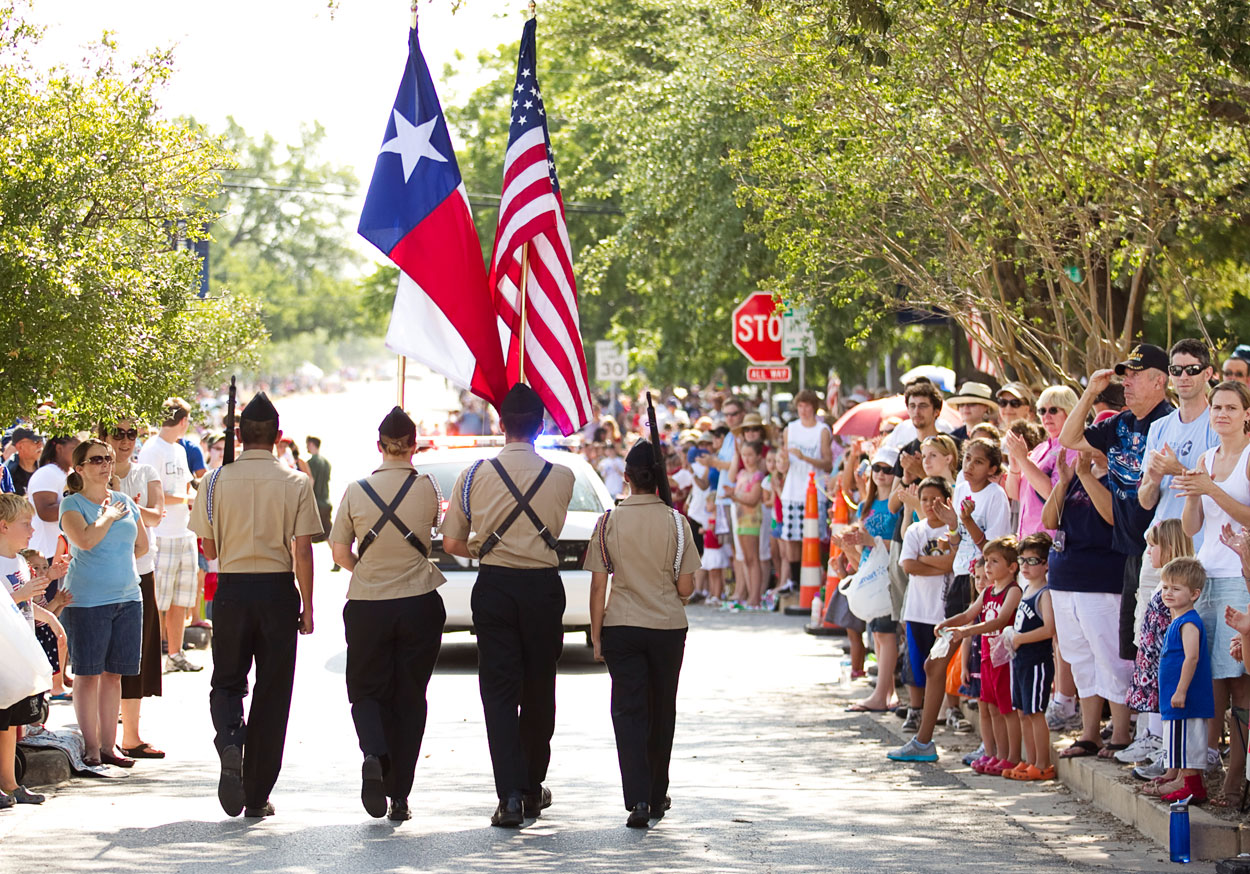 Austin (Texas) American Statesman blog, 2011: Left to right, Flo Gonzalez, 17, Sarah Lewis, 17, Tyler Soberanes, 15, and Jessica Knowles, 16, of the Georgetown High School ROTC Honor Guard, march down Main Street at the Fourth of July Parade. - See more at: http://photoblog.statesman.com/waving-the-flag-on-the-fourth-of-july#sthash.6a5xZKIo.dpuf
