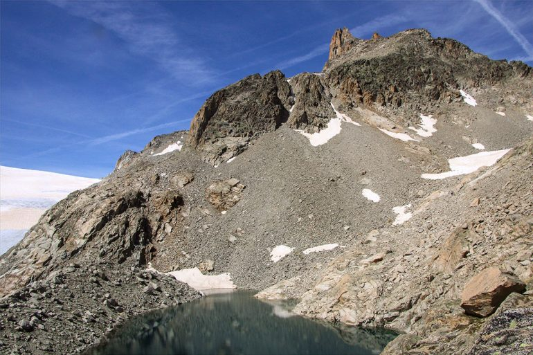 Glacier lake stop while hiking the Haute Route in France and Switzerland