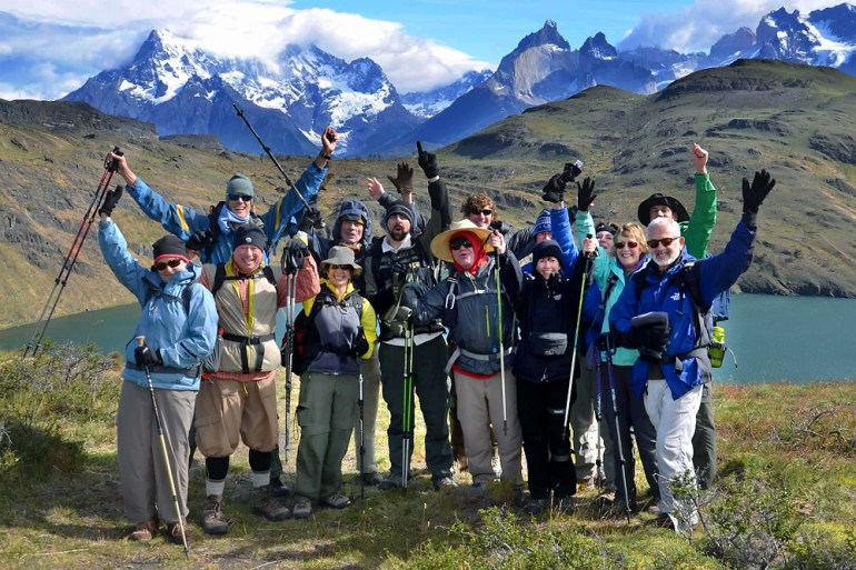 A Wilderness Travel hiking group near Cuernos del Paine in Patagonia