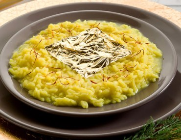 Risotto Oro e Zafferano, made with precious saffron and a leaf of 24 karat gold.