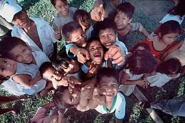 Peruvian children looking at camera