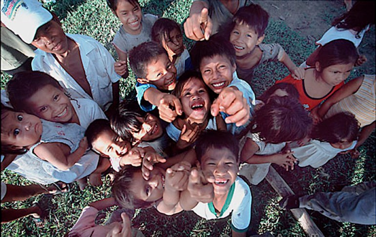 Peruvian children looking at camera