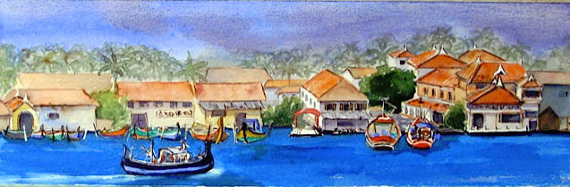 Anne: I was mesmerized by the waterfront in the lovely old town of Cochin. Our hotel, just across the water, had a lovely view of the gentle jumble of buildings, boats, fishing nets, people, and fresh fish and produce markets. It just begged to be explored!