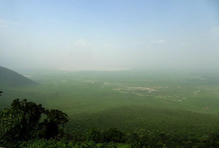 Ngorongoro crater in haze