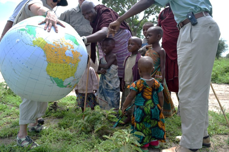 Meeting the Maasai with the globe