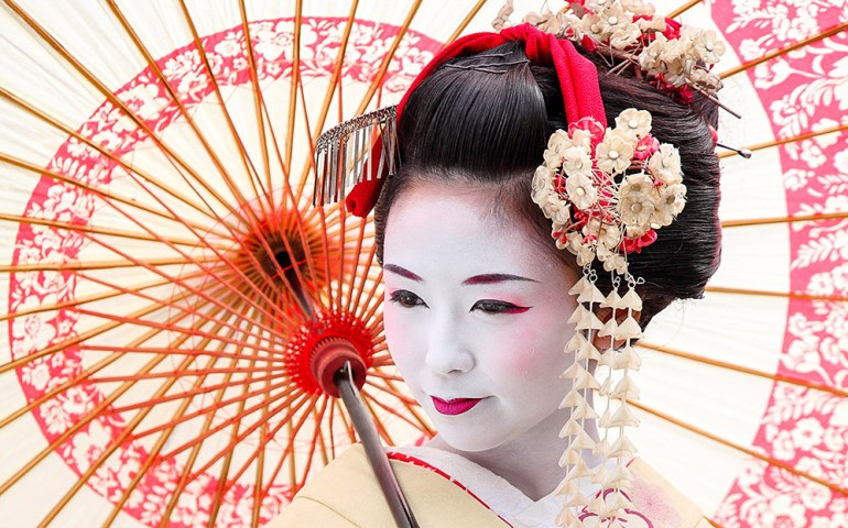 Geisha with Umbrella in Japan