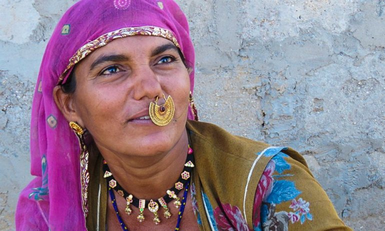 Bishnoi lady in a purple scarf