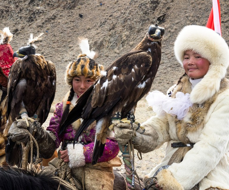 eagle huntress aisholpan with her golden eagle
