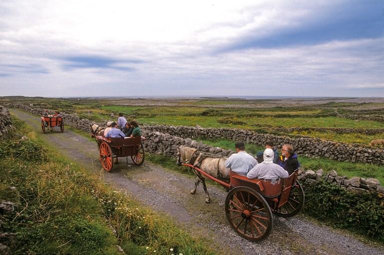 Horse carriages on inishmore Ireland