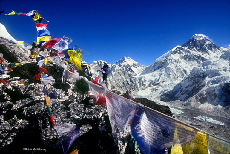 kala patar with prayer flags in nepal