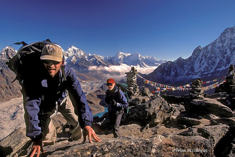 two hikers in Gokyo Ri in Nepal