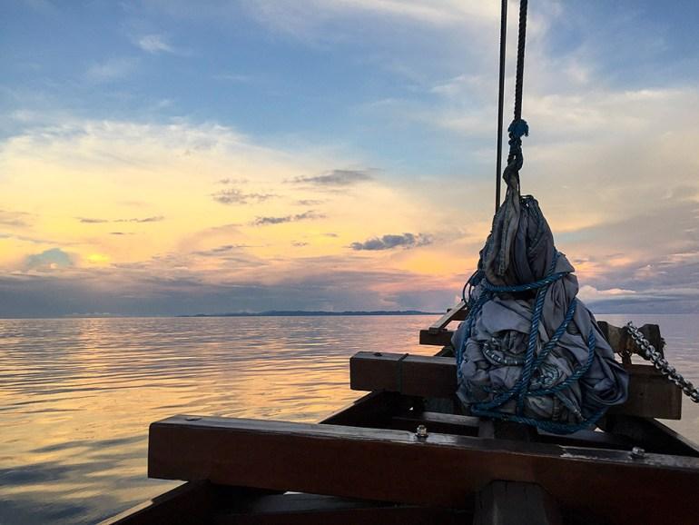 Raja Ampat sunset boat