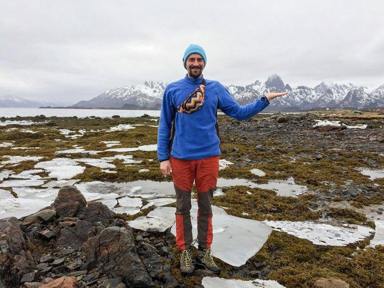 man standing in norway near Lofoten