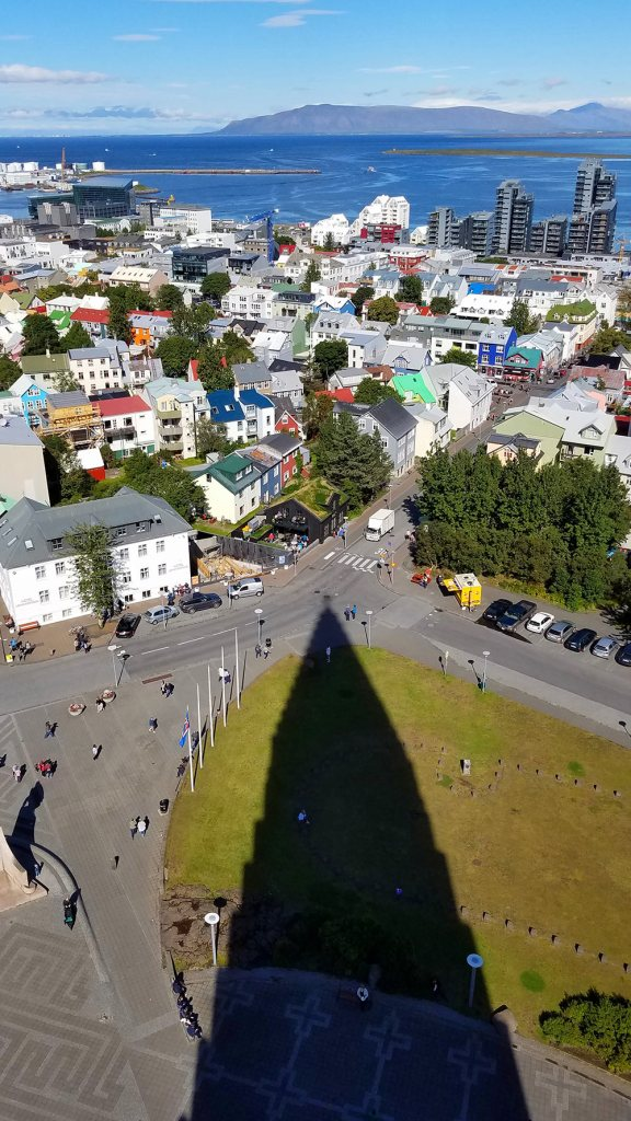 Shadow of Hallgrimskirkja Church from the bell tower in Reykjavik