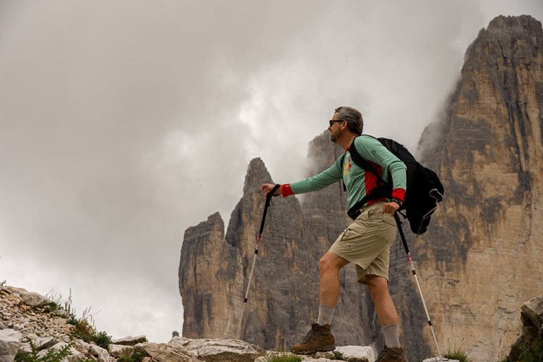 hiker in the dolomites