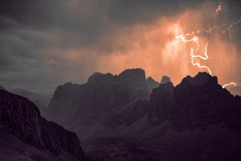 lightning storm in the dolomites