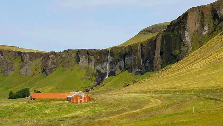 Typical scenery along the highway in Iceland
