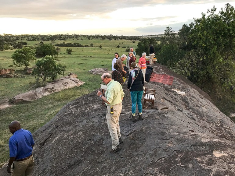 Surprise group sundowner in the Serengeti Tanzania