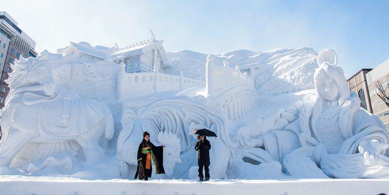 snow festival in sapporo japan