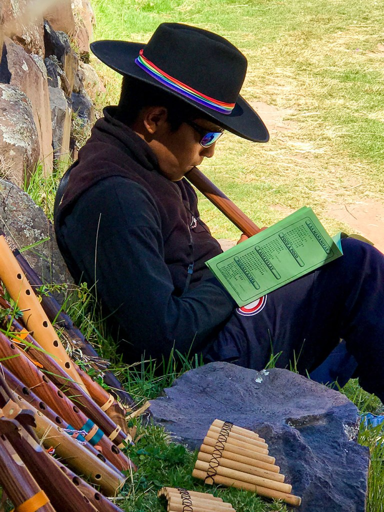 Dante playing instrument on inca trial