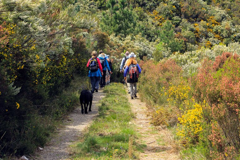 hikers on trail in Portugal