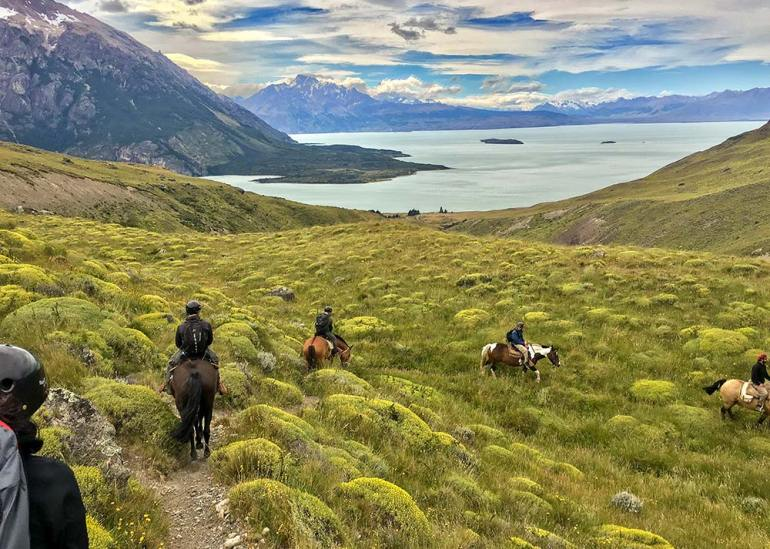 horse trail leading near lago viedma in patagonia