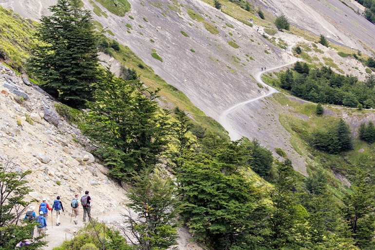 mountain trail near torres del paine in patagonia