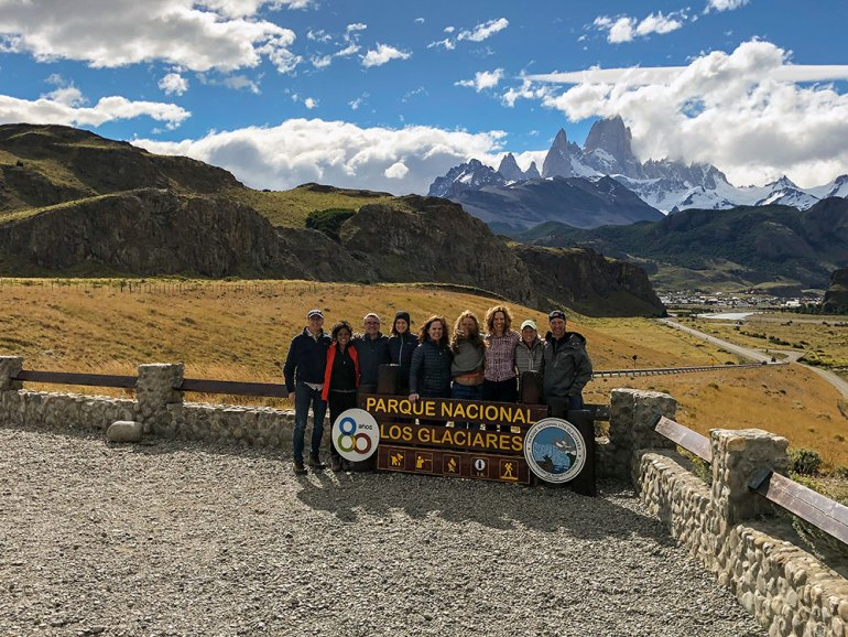 group photo in los glacieres national park in patagonia