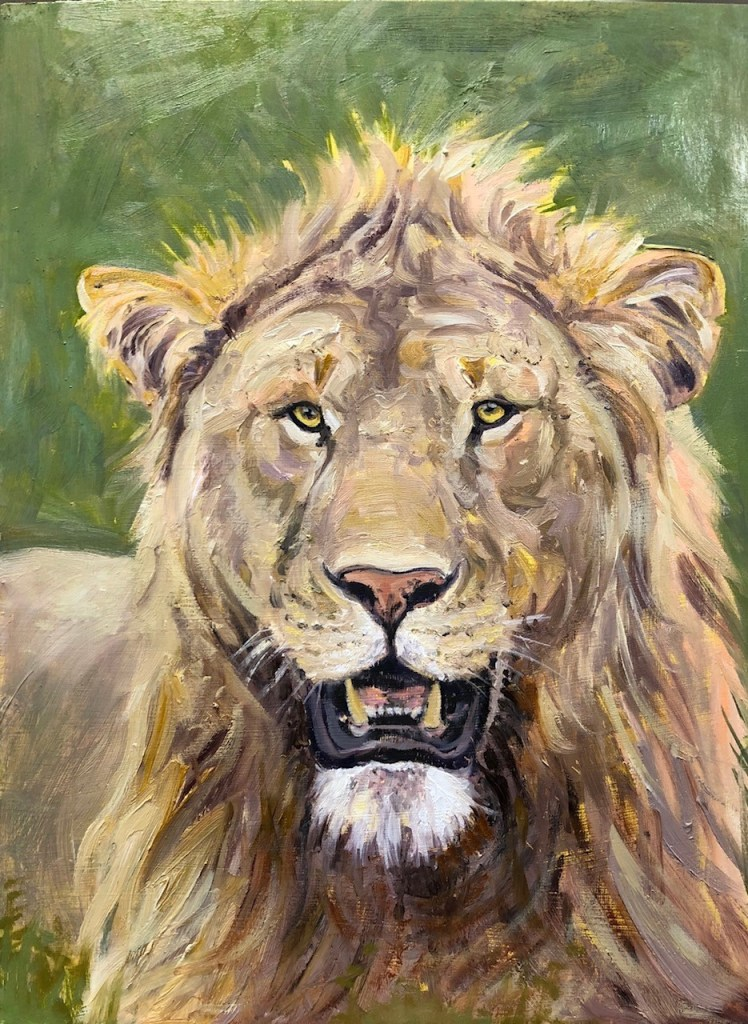 Oil painting of male lion head