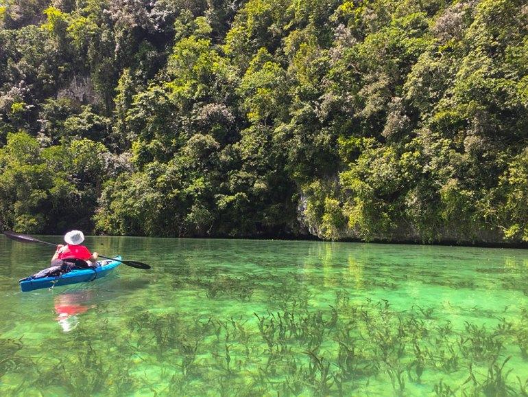 kayaking in bay in Palau