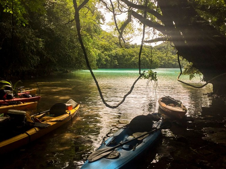 kayaks on shore in Palau