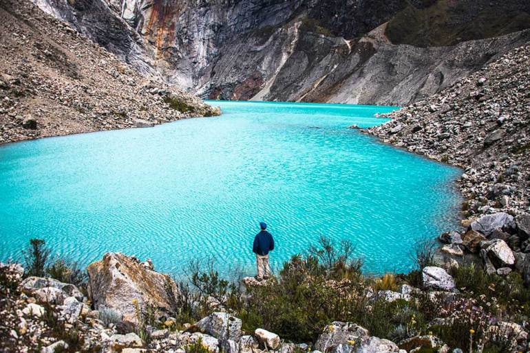 mand and lake in Cordillera Blanca