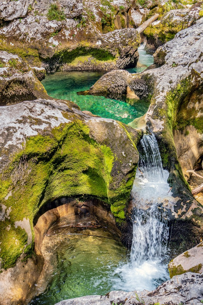 small stream and waterfall in Slovenia