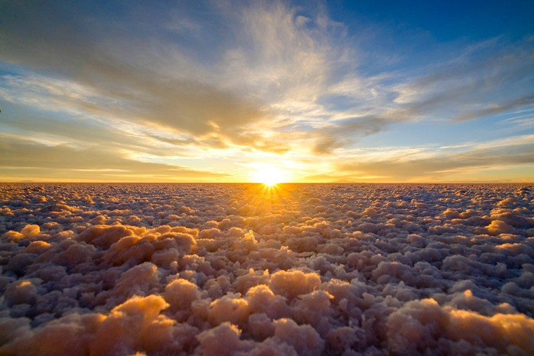 Flying above the clouds in Bolivia's Salar de Uyuni