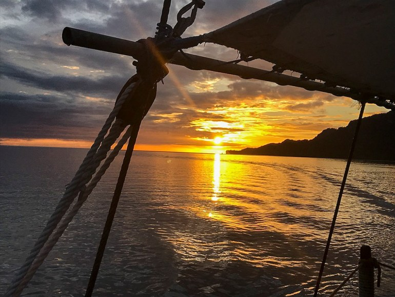 sunset on board boat raja ampat