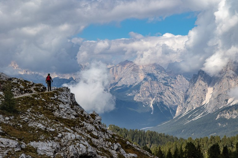 hiker in the Cortina Dolomites