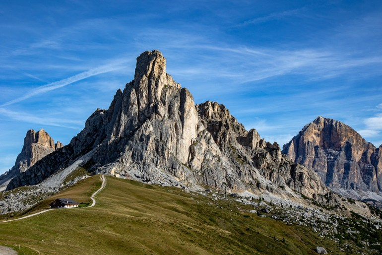 hikers on trail in the Cortina Dolomites