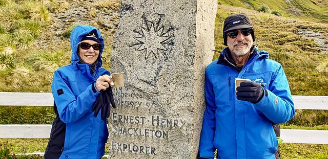 couple standing in Antarctica