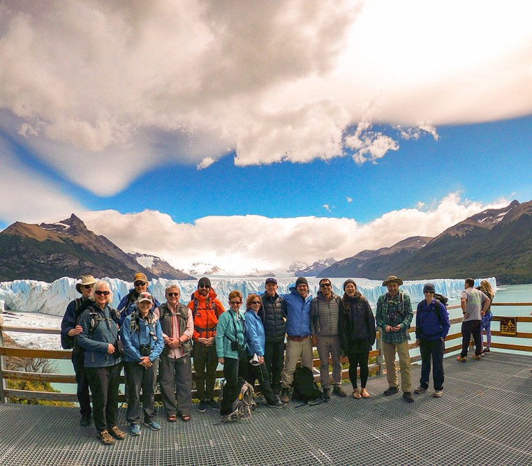 group photo near glacier in Patagonia