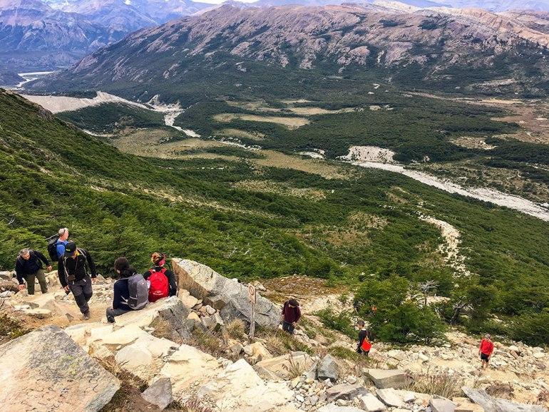 hikers descending trail in Patagonia