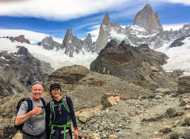 two hikers on trail in Patagonia